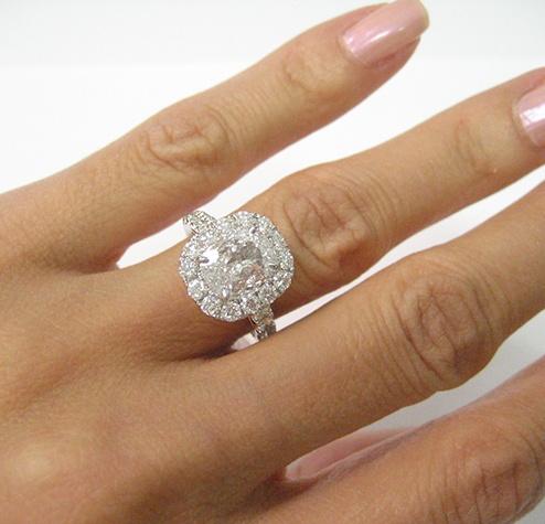 3 25ct Antique Vintage Cushion Diamond Engagement Ring Egl Huge Micro Pave Halo