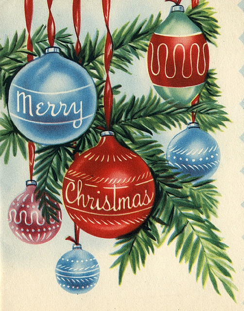 Merry Christmas card, 1950. #vintage #Christmas #cards