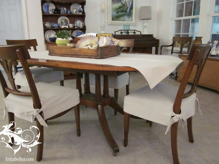 Drop Cloth Table Runner And Drop Cloth Chair Slipcovers