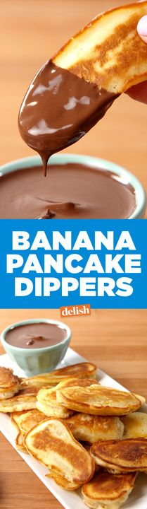 Banana Pancake Dippers are the most fun thing to do with pancake batter. Get the recipe from Delish.com.