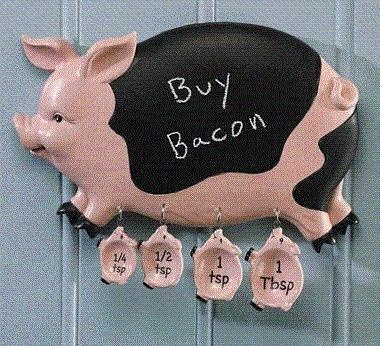 Pig Family Kitchen Chalkboard And Measuring Spoons