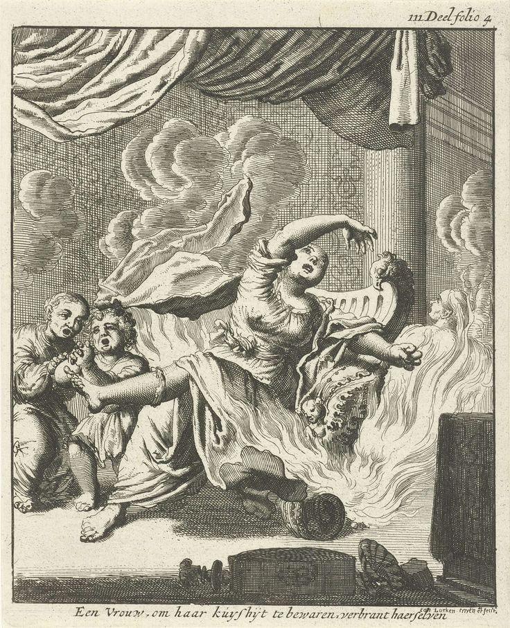 Jan Luyken | Zittende vrouw en twee huilende kinderen door vlammen omringd, Jan Luyken, 1682 | Prent rechtsboven gemerkt: III Deel folio 4.