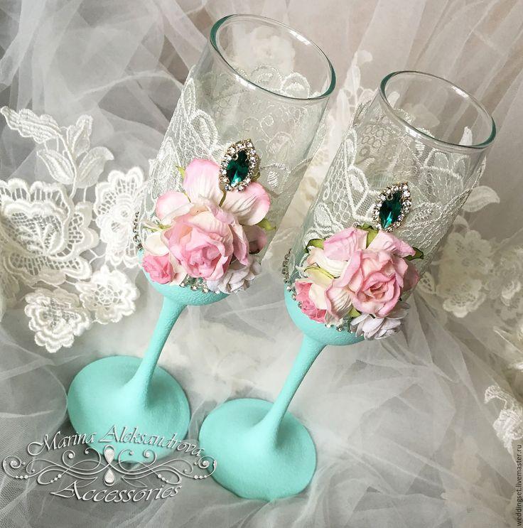 """Купить """"Deliсious Mint"""" бокалы - мятный, бокалы свадебные, бокалы с цветами, бокалы ручной работы"""