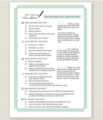 72 best The Bible to Party Planning images on Pinterest Birthday - birthday party checklist template
