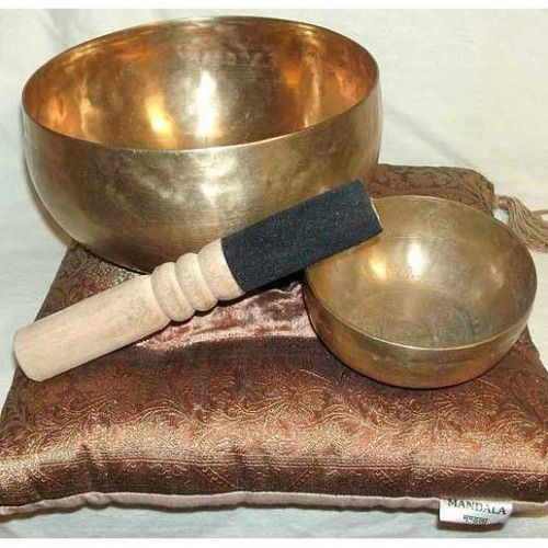 Large Singing Bowls. Handpicked by us on our travels overseas.  Uniquely handcrafted singing bowls of the highest quality.  Each bowl comes with a free Dorje Stick.    As a special for this month only, any large singing bowl purchased receives a free singing bowl cushion.  A very effective tool for lifting energy, shifting negative energy away and cleaning your personal aura.  Diameter 21cm approx
