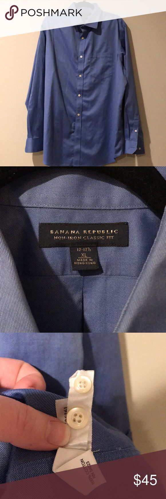 Men's Banana Republic Non-Iron Shirt Very nice, classic fit, non-iron men's button down shirt. Cobalt blue. Missing the bottom button, but two additional buttons are sewn into the interior of the shirt. Size XL 17-17 1/2. Smoke free home. Banana Republic Shirts Dress Shirts