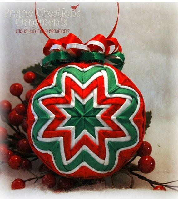 Quilted Christmas Ornament Red Green and by MyPrairieCreations