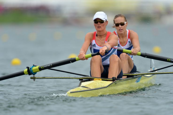 Helen Glover (R) and Heather Stanning of Great Britain compete in the women's pair final A to win the gold medal in the rowing at London 2012