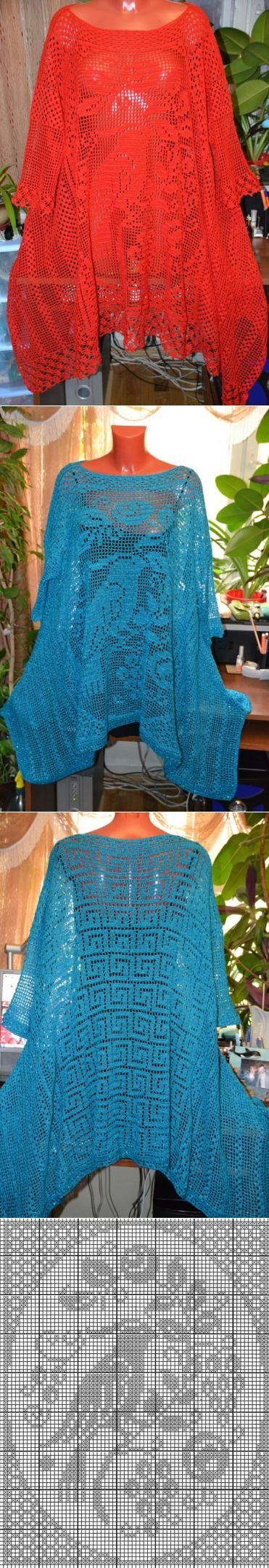 Туника - филейная техника | филейное вязание | Постила