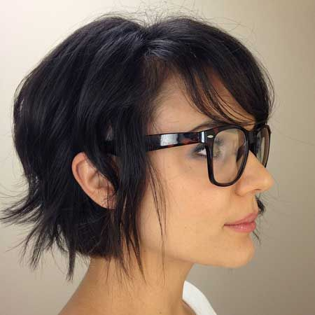 I totally love this one, but I'm not sure Corey would be OK if you went this short.  Short hairstyles for thick hair with bangs