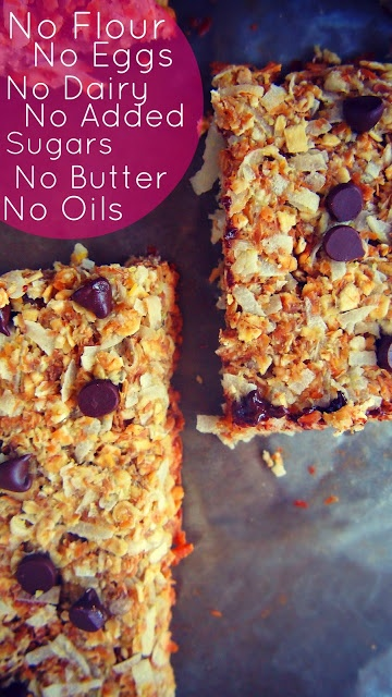Granola Bars - No Flour, no eggs, no dairy, no added sugars, no butter, no oils. •1 Cup Unsweetened Organic Coconut •1 Large Banana (Extra Ripe) •1 Cup Whole Grain Oats •1 Tbsp Organic Vanilla Extract •1/2 Cup Ground Flax Seed •1/4 Cup Unsweetened Almond Milk •2 Tbsp Mini Vegan Chocolate Chips •1 Packet Truvia (Your Choice Of Sweetener)