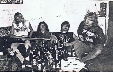 Empty bottles all over the place after a gig in 1987. Damn Dane bastards.