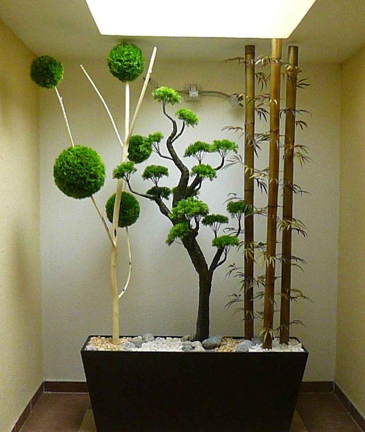 Jardinera horizontal con decoración de bonsai, árbol de esferas y Bambú. Plantas artificiales. Medidas 1.60 Mts. Ancho X 2.30 Mts Altura. Solo sobre diseño en www.natdeco.jimdo.com