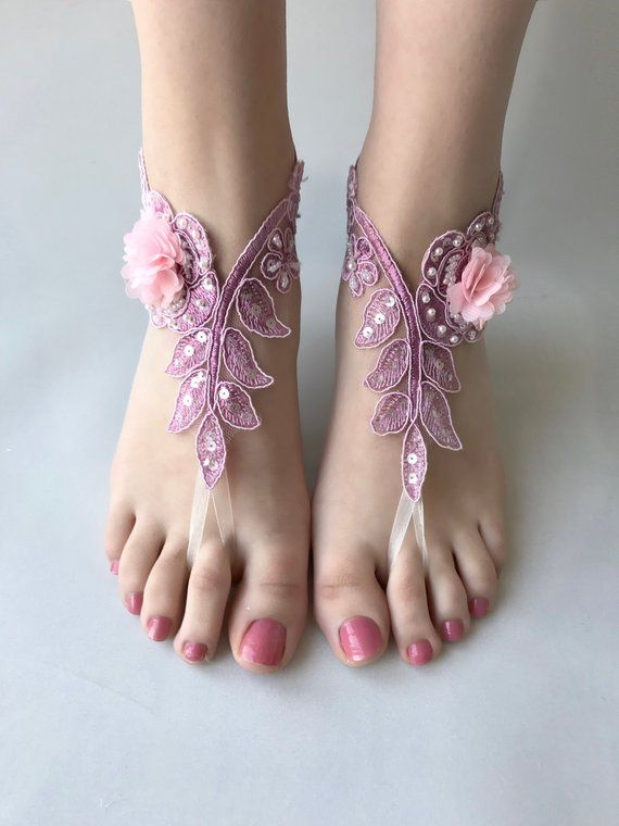 f867fa8403b3 EXPRESS SHIPPING Lilac pink Barefoot Sandals