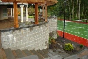 Yard After, Retaining Wall, Tennis Court Patio Woody's Custom Landscaping Inc Battle Ground, WA