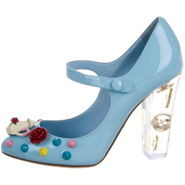 Pre-owned Dolce & Gabbana Patent Leather Embellished Pumps ($1,515) ❤ liked on Polyvore featuring shoes, pumps, blue, blue floral pumps, multi color pumps, blue patent leather pumps, studded pointed toe pumps and blue pumps
