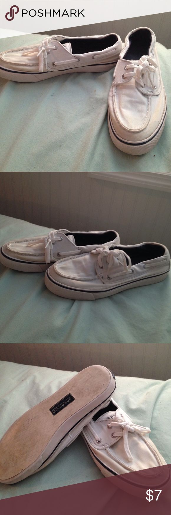 White Sperrys okay so these are worn & I tried whitening them but some parts ended up yellowing so that's why they are inexpensive. BUT they'd still be good to just have a pair of shoes you could do anything in lol Sperry Shoes