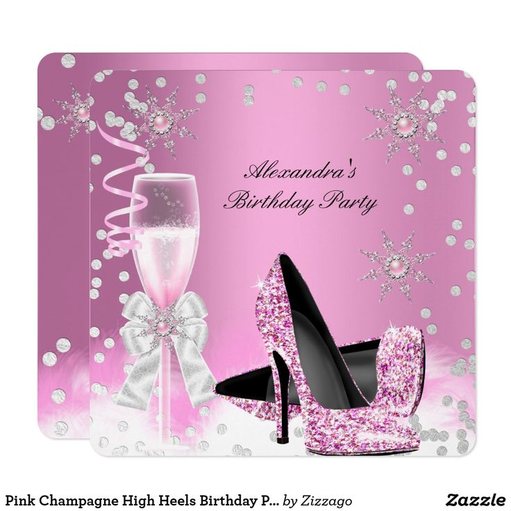 Pink Champagne High Heels Birthday Party 2 Card Glitter Light Pink High Heel Shoes, Pink Champagne Birthday Party, Pink Pearl Snowflakes, Pink White Feathers, White Silver Sparkle, Feathers, Birthday Party for any age. Party for women or a girl. Invitation Formal Use for any event invitation Customize with your own details and age. Template for Sweet 16, 16th, Quinceanera 15th, 18th, 20th, 21st, 30th, 40th, 50th, 60th, 70th, 80th, 90, 100th, All Occasions Fabulous Elegant Events for Women…
