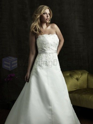 A-line Organza Embroidered Bodice Strapless Neckline Chapel Length Train Wedding Dresses