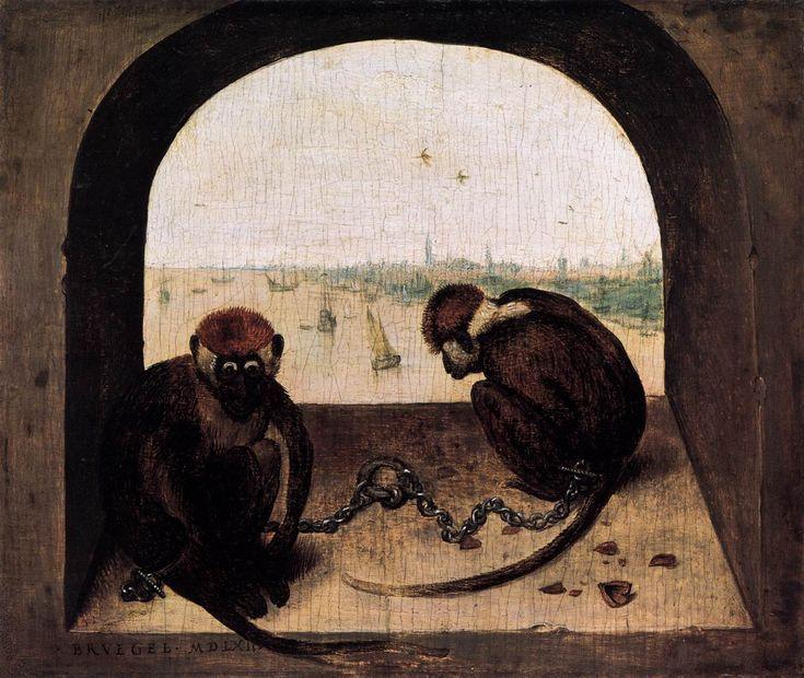 Pieter Bruegel il Vecchio, Due scimmie incatenate, olio su tavola (20x23 cm), 1562, Gemäldegalerie di Berlino.
