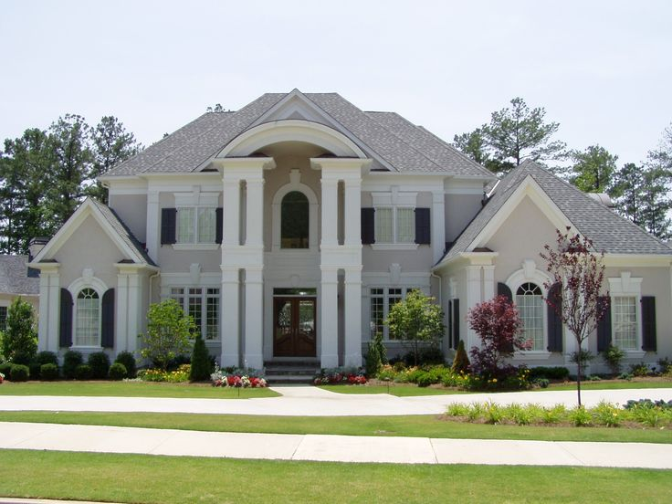 Exterior Paint Colors For Stucco Homes Exterior Paint: Light Grey Stucco, Navy Trim