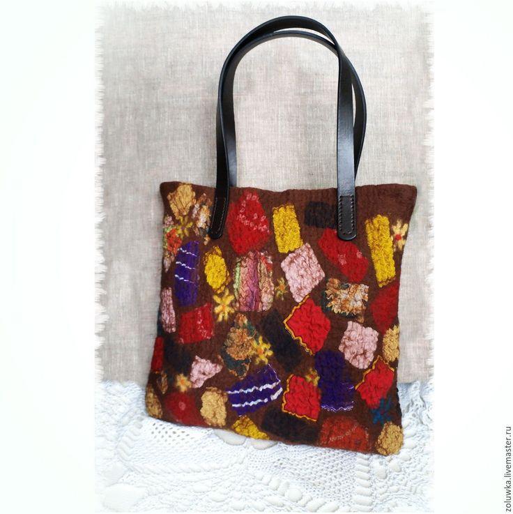 Купить Валяная сумочка Веселая карусель - разноцветный, сумка, сумку купить, сумка валяная