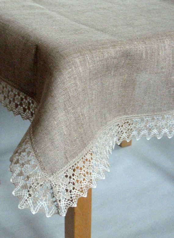 Linen Tablecloth Burlap Square Natural Gray Linen by Initasworks