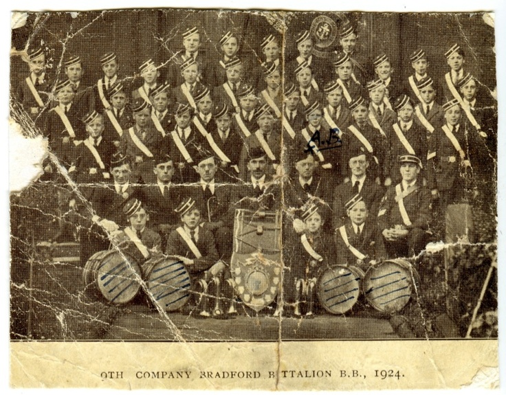 Bradford Boys Brigade Band 1924. Albert Burnett marked.
