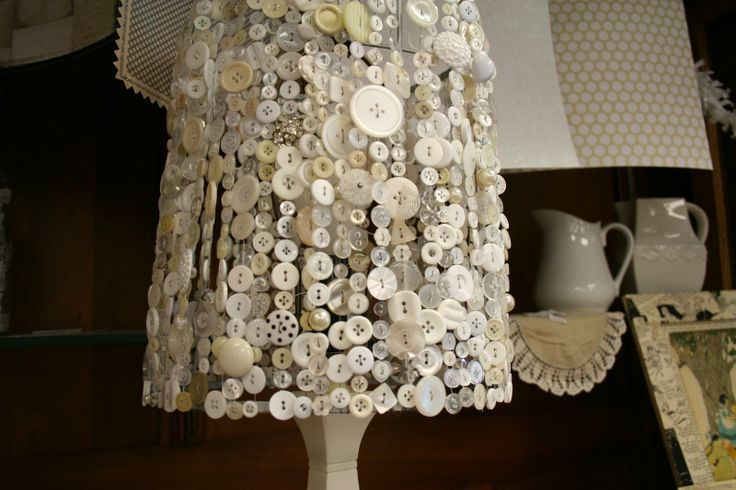 Button lampshade How sweet would this be as an accent lamp in a bedroom or living room?