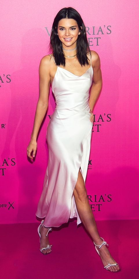 Kendall Jenner may only be an honorary Victoria's Secret Angel, but for the brand's fashion show after-party, she looked like an actual angel in a white satin Camilla and Marc slip dress.