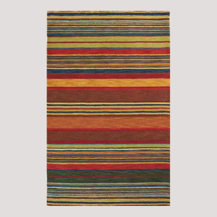 Striped Wool Tufted Rug Multicolor Striped Wool Tufted