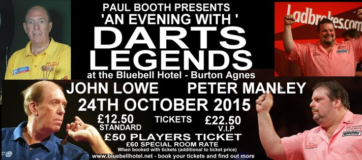 Darts Legends 24th October 2015 appearing at the Bluebell Hotel Burton Agnes. John Lowe And Peter Manley