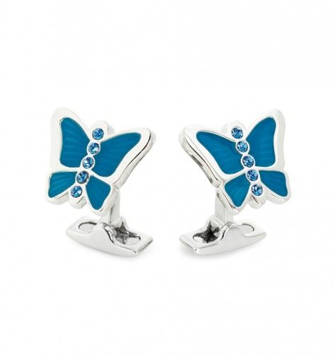 Miss Links 'Lucy' blue butterfly cufflinks - enamel and sterling silver with sapphire crystals