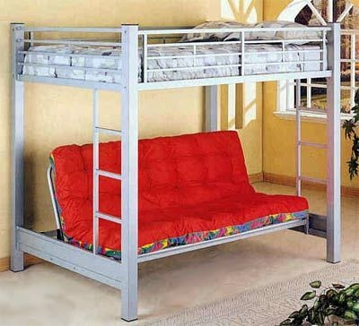 Full Size Loft Bed W Full Futon Under Small Bedroom