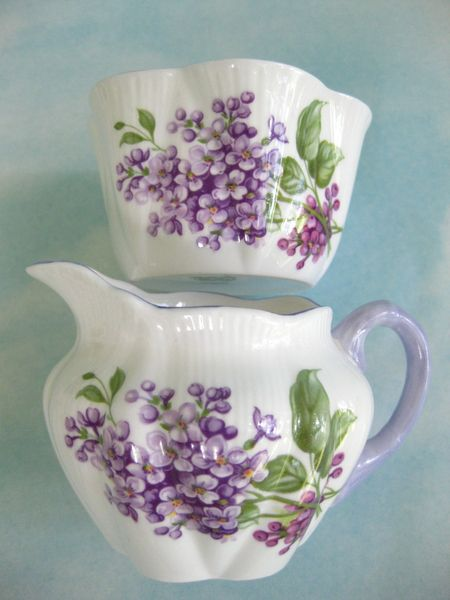 Rare vintage Shelley China Lilac cream and sugar set - England.
