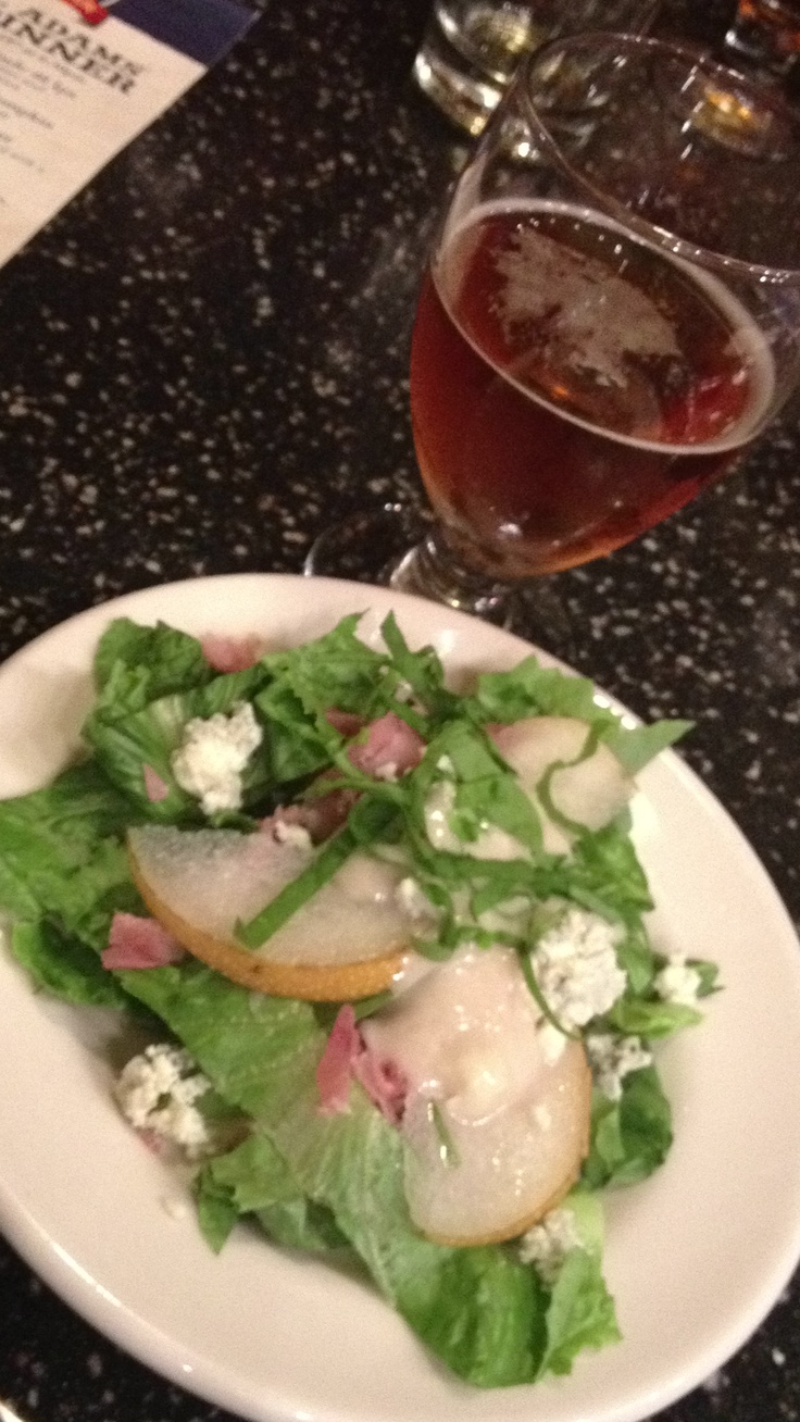 Boston lager and Asian pear and prosciutto salad drizzled with Stilton ...