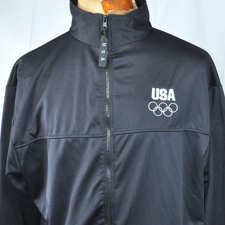 Olympic Committee USA Embroidered Zip Sweatshirt 2XL XXL Mens Navy Blue USA Made #UnitedStatesOlympicCommittee #USA #olympics