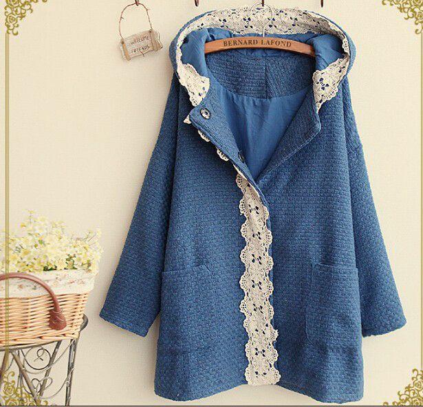 Dantel İsleme Mavi Kışlık Ceket
