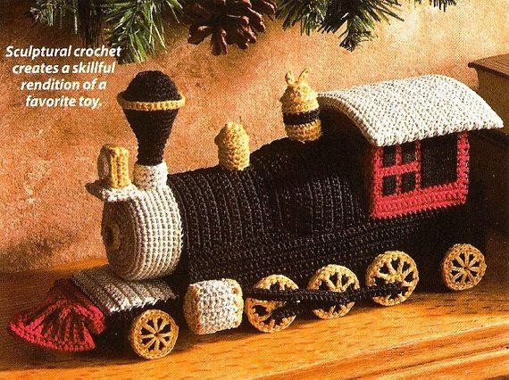X349 Crochet PATTERN ONLY Toy Locomotive Train by BeadedBundles, $7.95