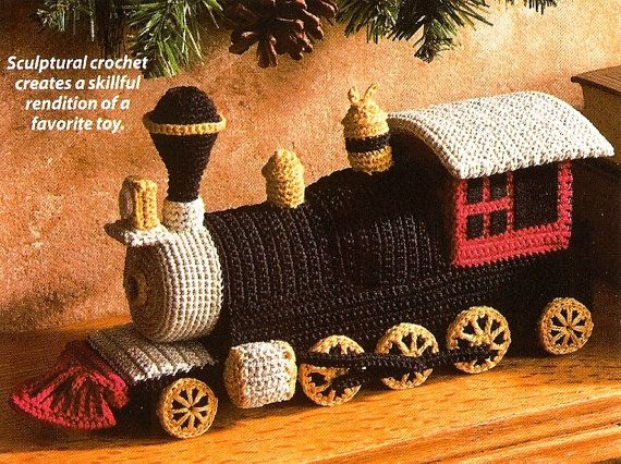 X349 Crochet PATTERN ONLY Toy Locomotive Train by BeadedBundles