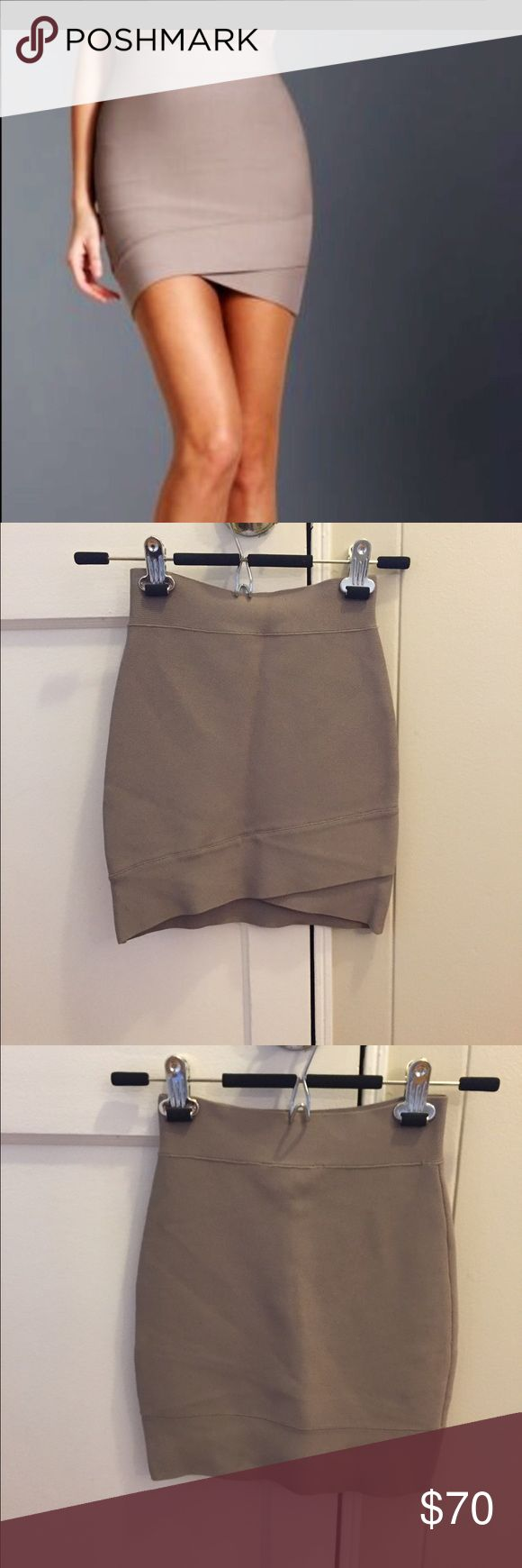 BCBG Bandage Skirt XXS BCBG beige/ brown bandage skirt. Work once very briefly. No signs of wear. Size XXS. Front is a little shorter than back (see images). Price flexible! Great for office or night out! BCBGMaxAzria Skirts
