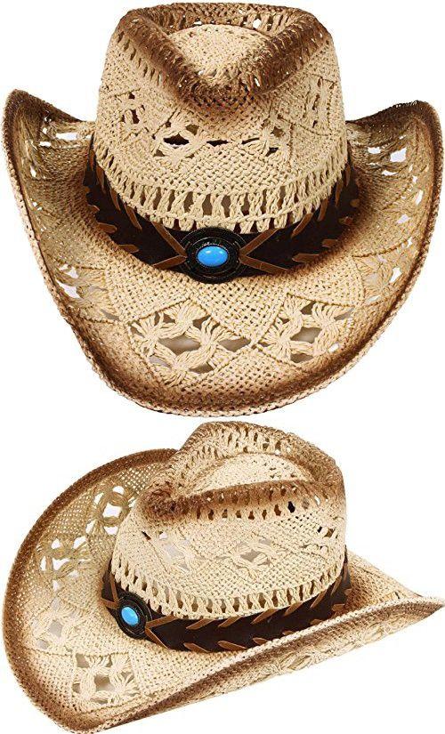 4e8f33dae52 Men   Women s Summer Classic Western Cowboy Straw Hat