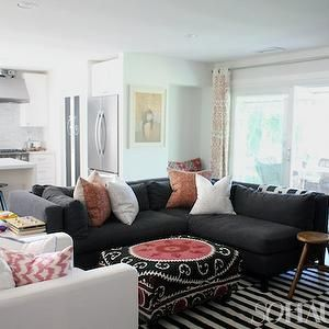 Living Rooms Grey Couch Sofa Dark Stripped