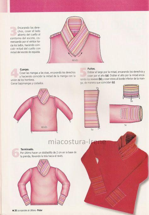 instrucciones para colocar  cuello y puño de buzo rojo.