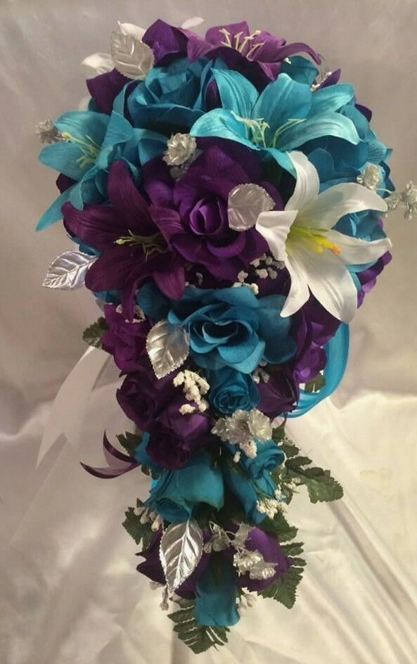 Bridal Bouquet Package Turquoise Purple Wedding Bouquets Ideas