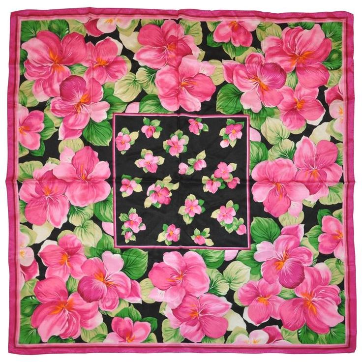 "Adrienne Vittadini ""Burst of Fuchsia Flowers"" Silk Scarf 1980"