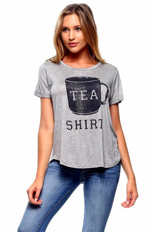 My Favorite 'Tea Shirt' Short Tunic Top Light Grey by TinShowroom