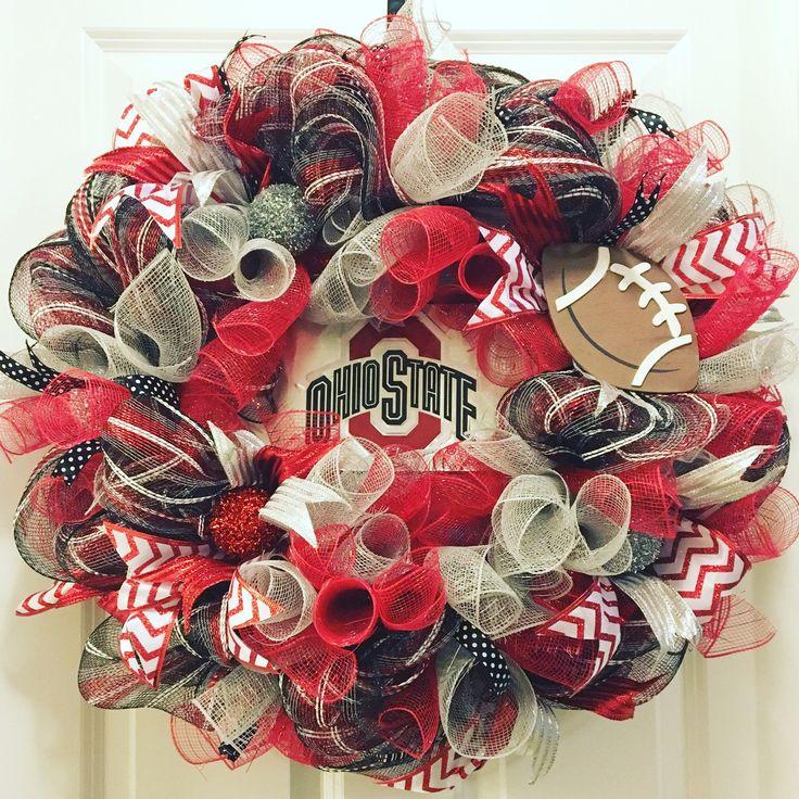 """New inventory! """"Dark Knight in the Shoe"""" Buckeye Wreath ~ OSU, OSU wreath, Buckeye wreath, football, The Ohio State University"""