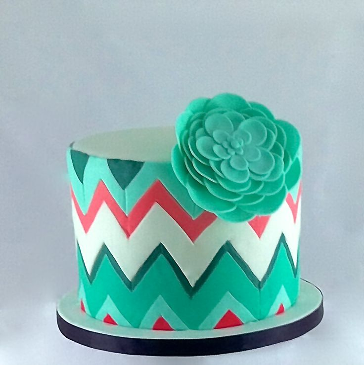 This was our beautiful chevron wedding cake made by Auntie M's Bakeshoppe!