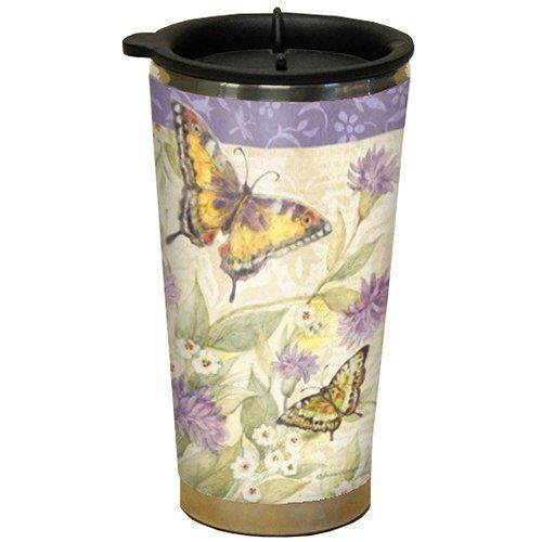 Morning has Broken Butterfly Design Acrylic Stainless Steel Double Walled Travel Mug...$18.95
